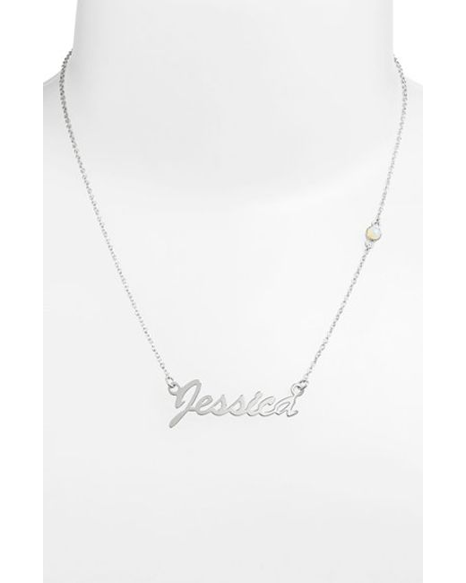 Argento Vivo | White Birthstone & Personalized Nameplate Pendant Necklace (nordstrom Online Exclusive) | Lyst