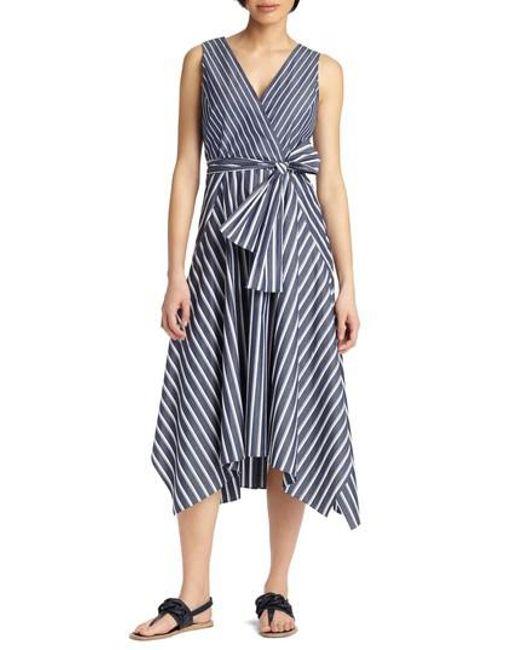 Lafayette 148 New York - Blue Demetria Stripe Poplin Dress - Lyst