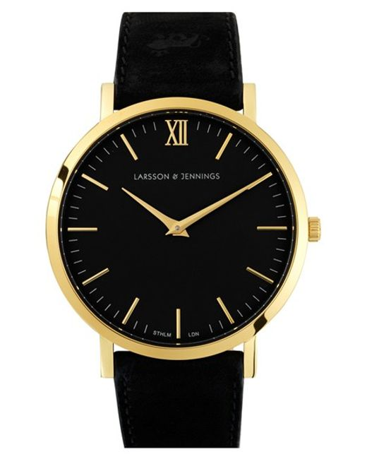 Larsson & Jennings | Black 'lugano' Leather Strap Watch | Lyst