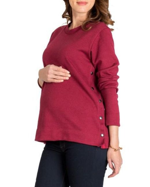 Nom Maternity | Red Olivia Snap Side Maternity Sweater | Lyst