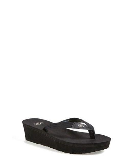 UGG   Black Ugg 'ruby' Wedge Thong Sandal   Lyst