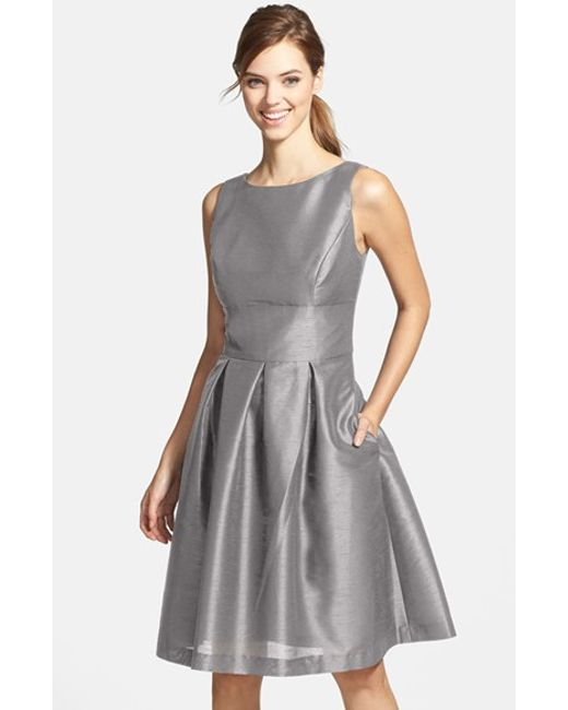 Alfred Sung   Gray Dupioni Fit & Flare Dress   Lyst