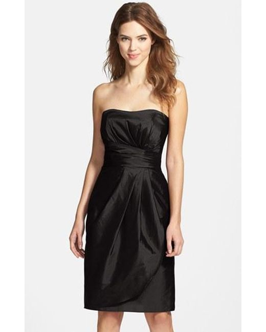 Alfred Sung | Black Wrapped Strapless Satin Dress | Lyst