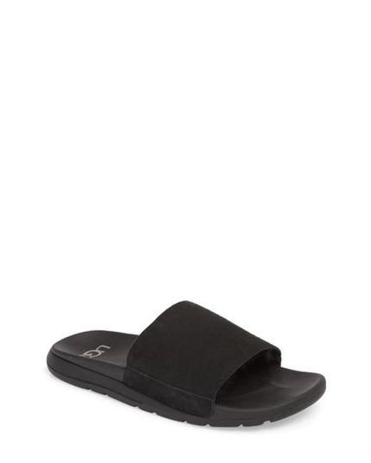 e7208661391 Lyst - Ugg Ugg Xavier Tf Genuine Shearling Slide Sandal in Black