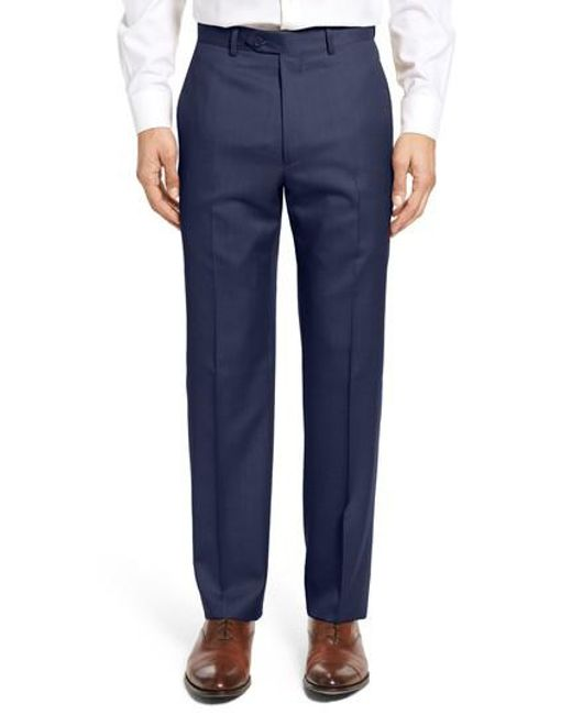 Santorelli - Blue Flat Front Twill Wool Trousers for Men - Lyst