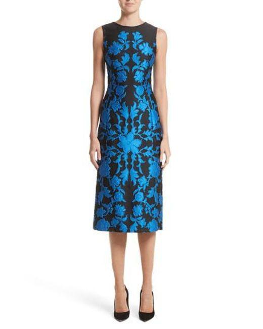 Oscar de la Renta - Blue Matelasse Floral Jacquard Dress - Lyst