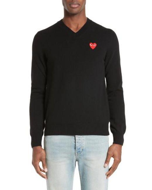 Comme des Garçons   Black Play Wool Pullover for Men   Lyst