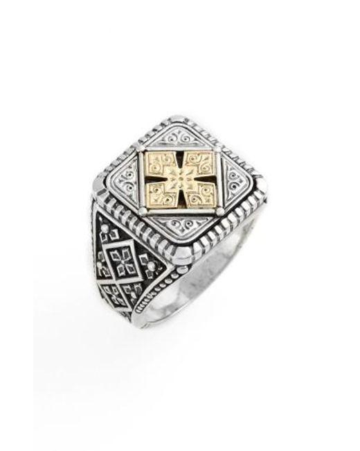 Konstantino | Metallic Silver & Gold Classics Square Ring | Lyst