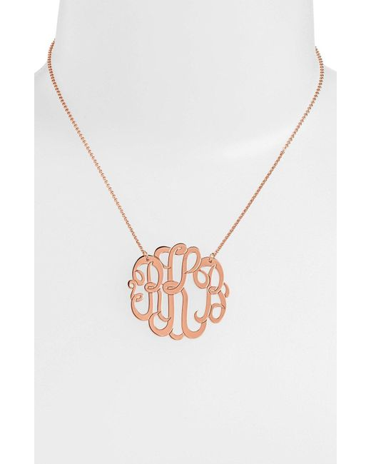 Argento Vivo - Metallic Personalized Large 3-initial Letter Monogram Necklace (nordstrom Exclusive) - Lyst