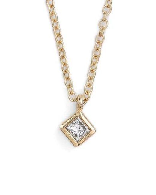 Zoe Chicco   Metallic Princess Diamond Pendant Necklace   Lyst