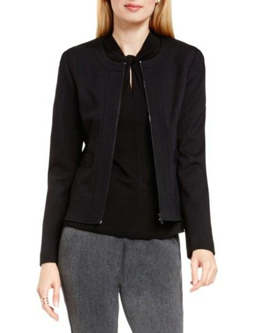 Vince Camuto - Black Front Zip Collarless Jacket - Lyst