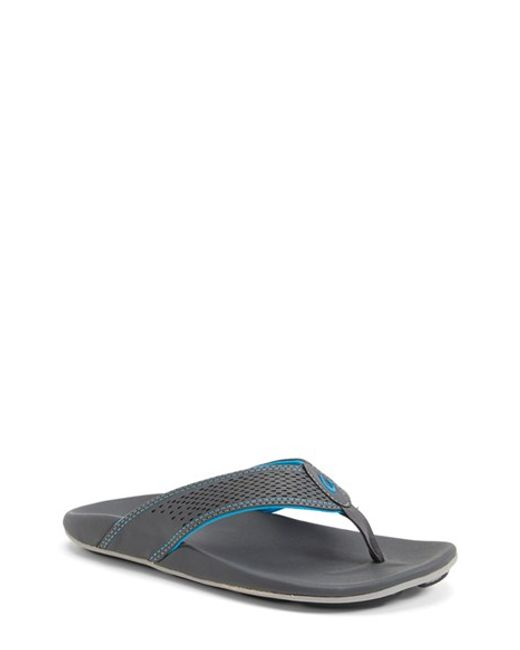 Olukai | Gray 'kekoa' Water Resistant Perforated Flip Flop for Men | Lyst