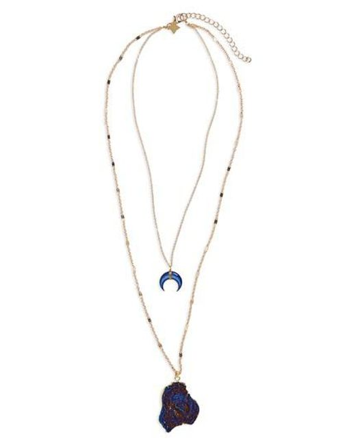 Panacea | Blue Drusy Layered Necklace | Lyst