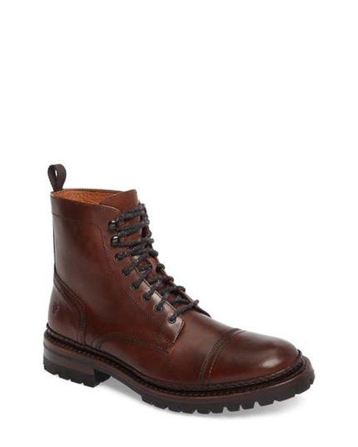 Frye | Brown George Cap Toe Boot for Men | Lyst