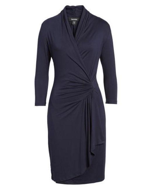 Karen Kane | Blue Cascade Faux Wrap Dress | Lyst