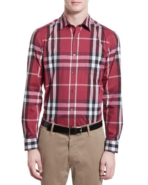 Burberry | Gray Nelson Check Sport Shirt for Men | Lyst