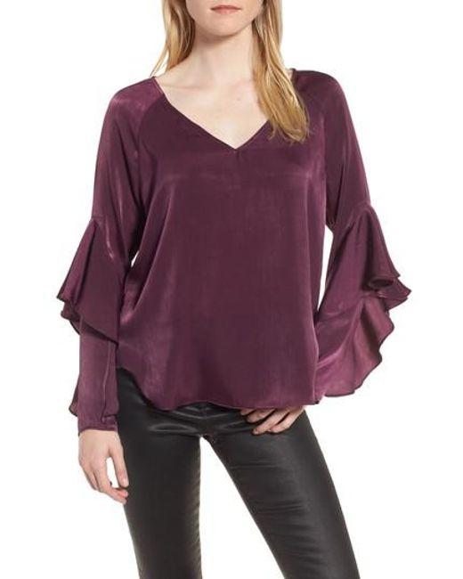 Chelsea28   Purple Ruffle Sleeve Blouse   Lyst