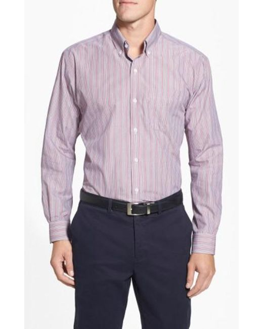 Cutter & Buck | Pink 'epic Easy Care' Classic Fit Wrinkle Resistant Stripe Sport Shirt for Men | Lyst