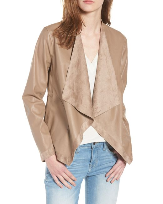 BB Dakota - Natural Teagan Reversible Faux Leather Drape Front Jacket - Lyst