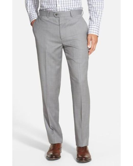 Bensol   Gray 'gab' Trim Fit Flat Front Pants for Men   Lyst