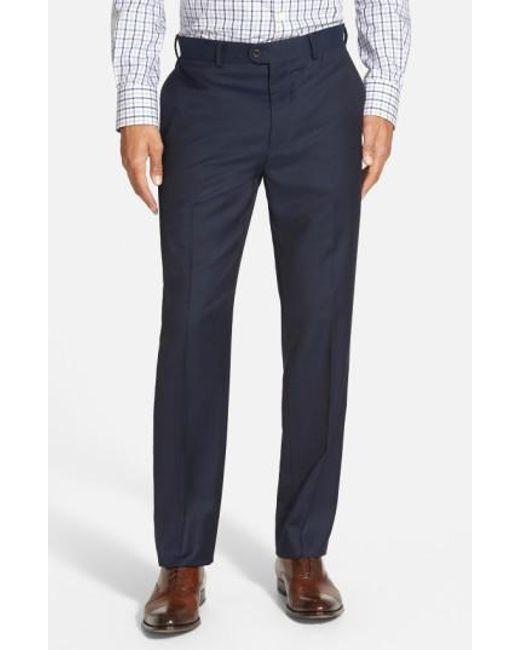 Bensol   Blue 'gab' Trim Fit Flat Front Pants for Men   Lyst