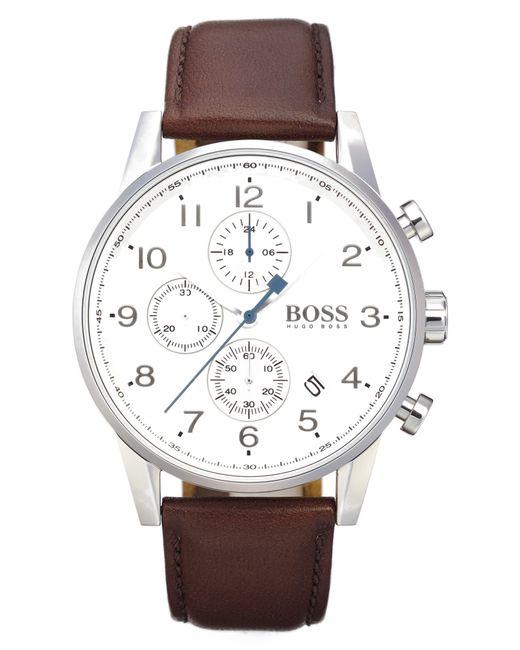 BOSS - Metallic Chronograph Leather Strap Watch - Lyst