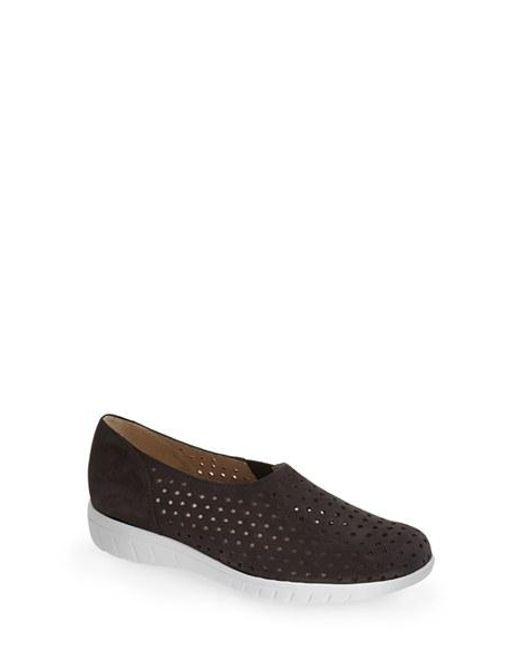 Munro | Black 'skipper' Perforated Leather Sneaker | Lyst