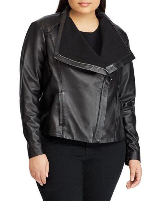 Lauren by Ralph Lauren - Black Drape Front Leather Jacket - Lyst