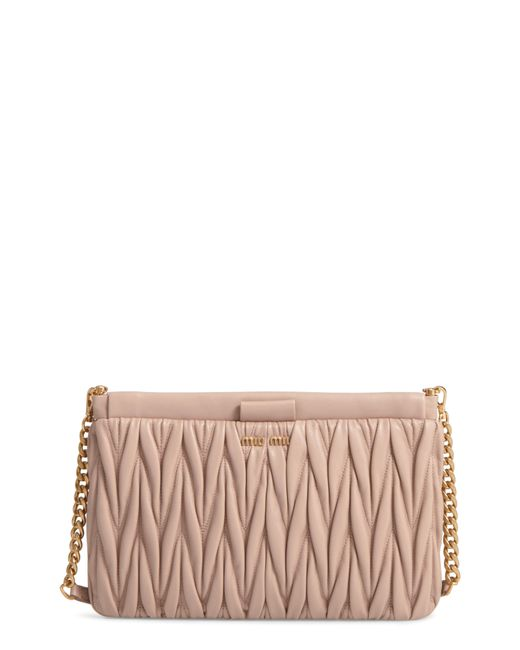 Miu Miu - Pink Matelasse Leather Clutch - Lyst