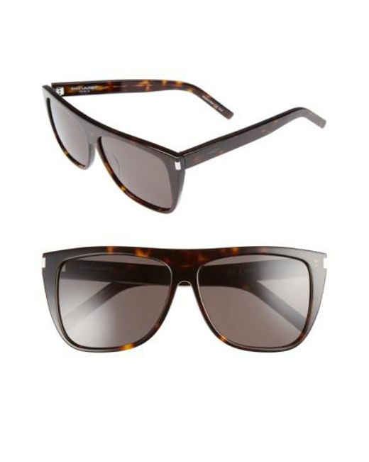 Saint Laurent - Gray Sl1 59mm Flat Top Sunglasses - Havana/ Smoke - Lyst