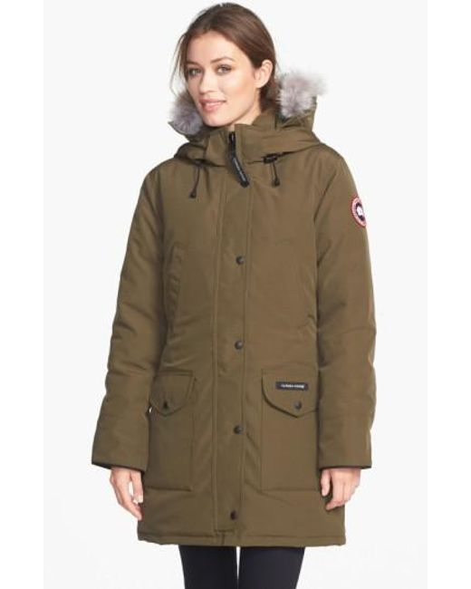 Canada Goose | Green 'trillium' Regular Fit Down Parka With Genuine Coyote Fur Trim | Lyst