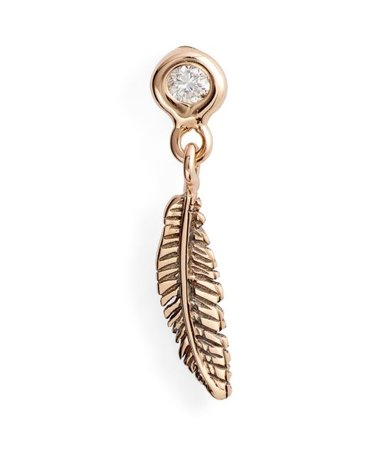 Kismet by Milka - Metallic Diamond Feather Hoop Single Earring - Lyst