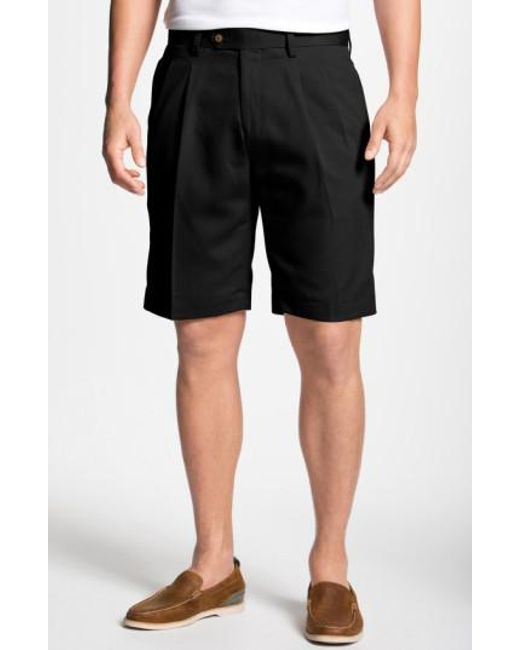 Cutter & Buck - Black Double Pleated Microfiber Twill Shorts for Men - Lyst