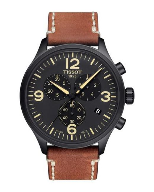 Tissot | Black Chrono Xl Leather Strap Chronograph Watch for Men | Lyst