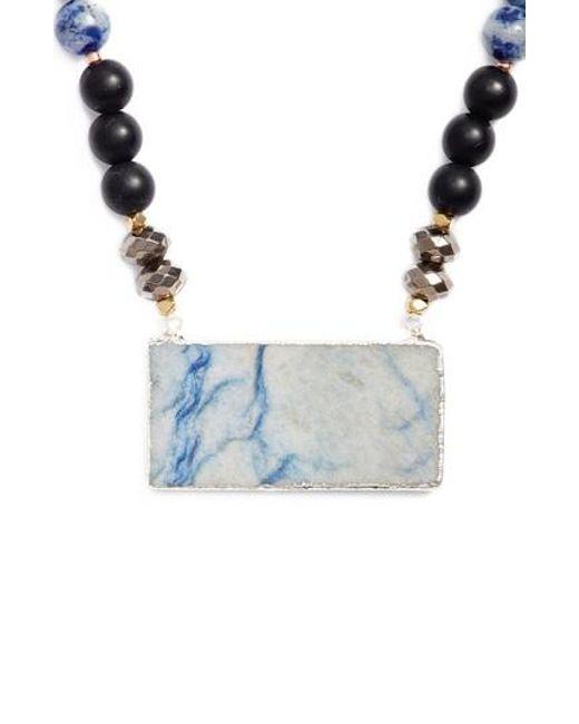 Nakamol | Blue Agate Rectangle Short Pendant Necklace | Lyst