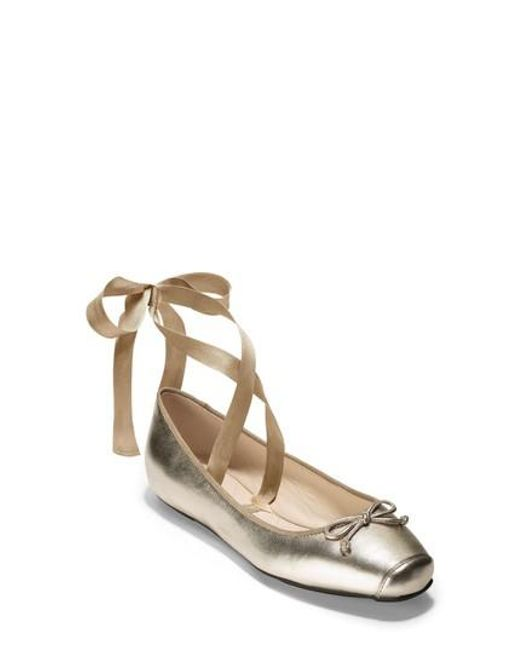 Cole Haan - Metallic Downtown Ankle Wrap Ballet Flat - Lyst