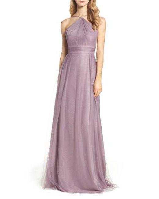 Monique Lhuillier Bridesmaids   Purple Tulle Halter Style Gown   Lyst