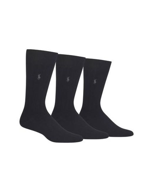 Polo Ralph Lauren | 3-pack Crew Socks, Black for Men | Lyst