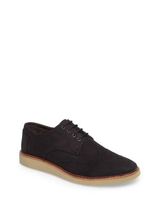 TOMS | Black 'brogue' Wingtip for Men | Lyst
