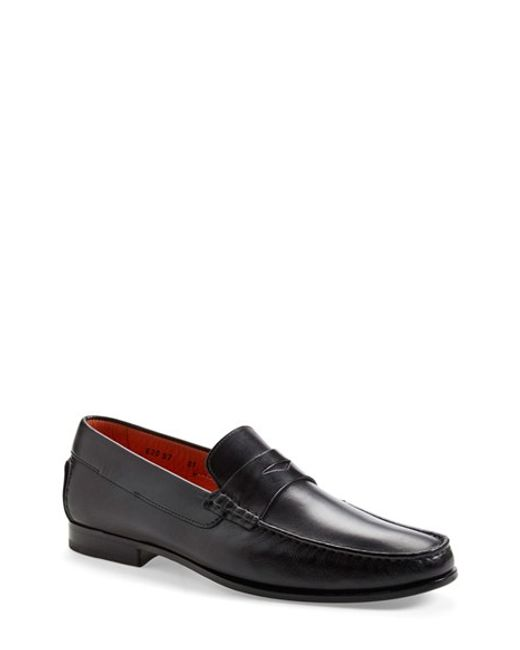 Santoni | Black 'turner' Leather Penny Loafer for Men | Lyst