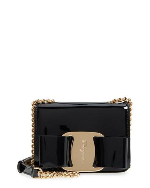 4d9179cdb9ee Lyst - Ferragamo Vara Patent Leather Crossbody Bag in Black