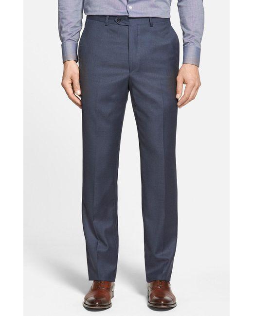 Santorelli - Blue Flat Front Wool Trousers for Men - Lyst
