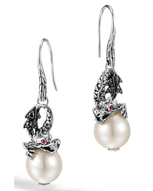 John Hardy | Metallic 'naga - Lava' Dragon & Pearl Drop Earrings | Lyst