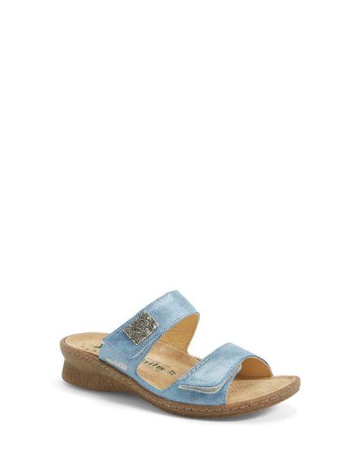 Mephisto | Blue 'Bregalia' Metallic Leather Sandal | Lyst