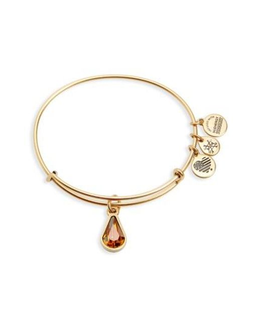 ALEX AND ANI | Metallic Birthstone Expandable Wire Bangle With Swarovski Crystal | Lyst