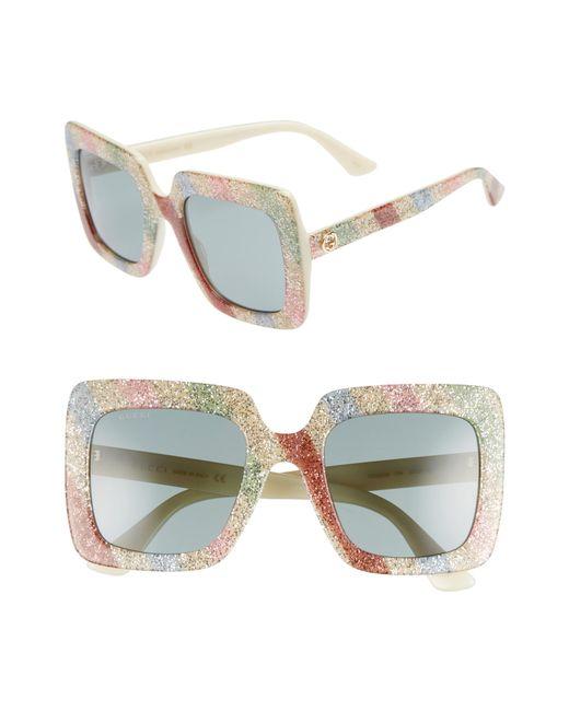 Gucci - Multicolor 53mm Glitter Stripe Square Sunglasses - Lyst