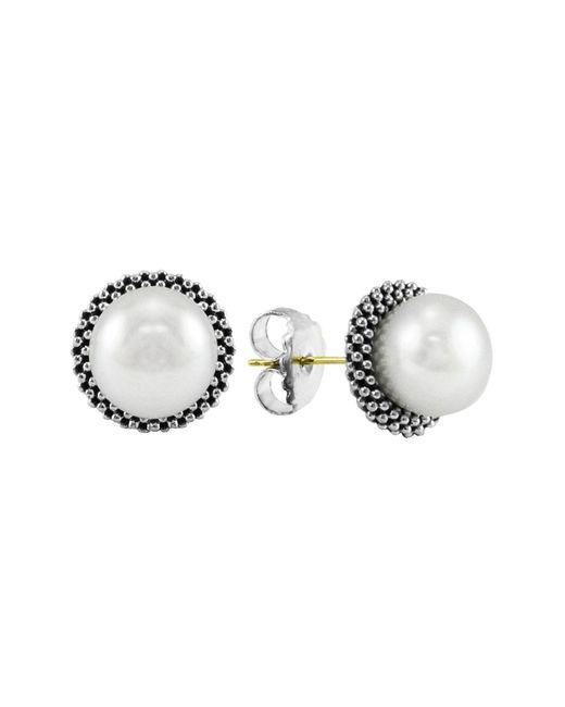 Lagos - Metallic 'luna' Pearl Small Stud Earrings - Lyst
