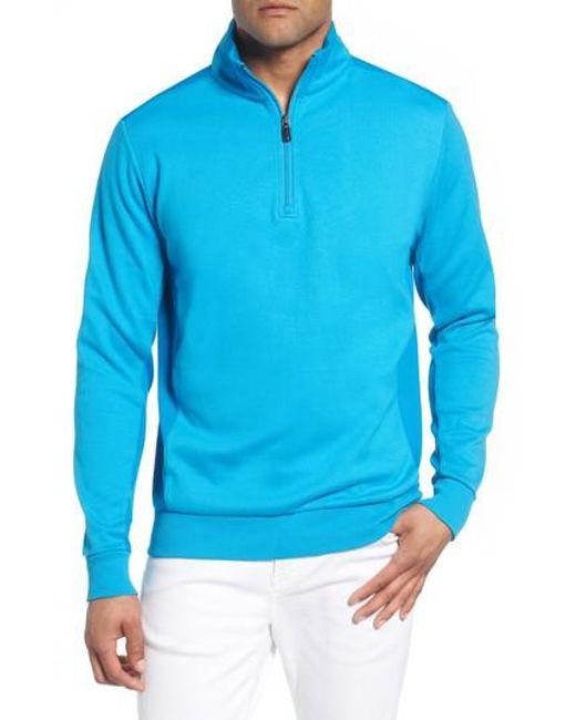 Bugatchi - Blue Regular Fit Knit Quarter Zip Pullover for Men - Lyst