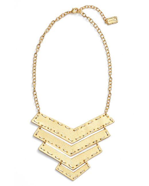 Karine Sultan - Metallic Chevron Pendant Necklace - Lyst