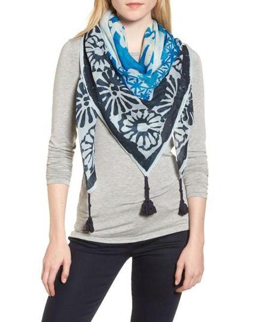 Tory Burch - Blue Tassel Wool & Silk Scarf - Lyst